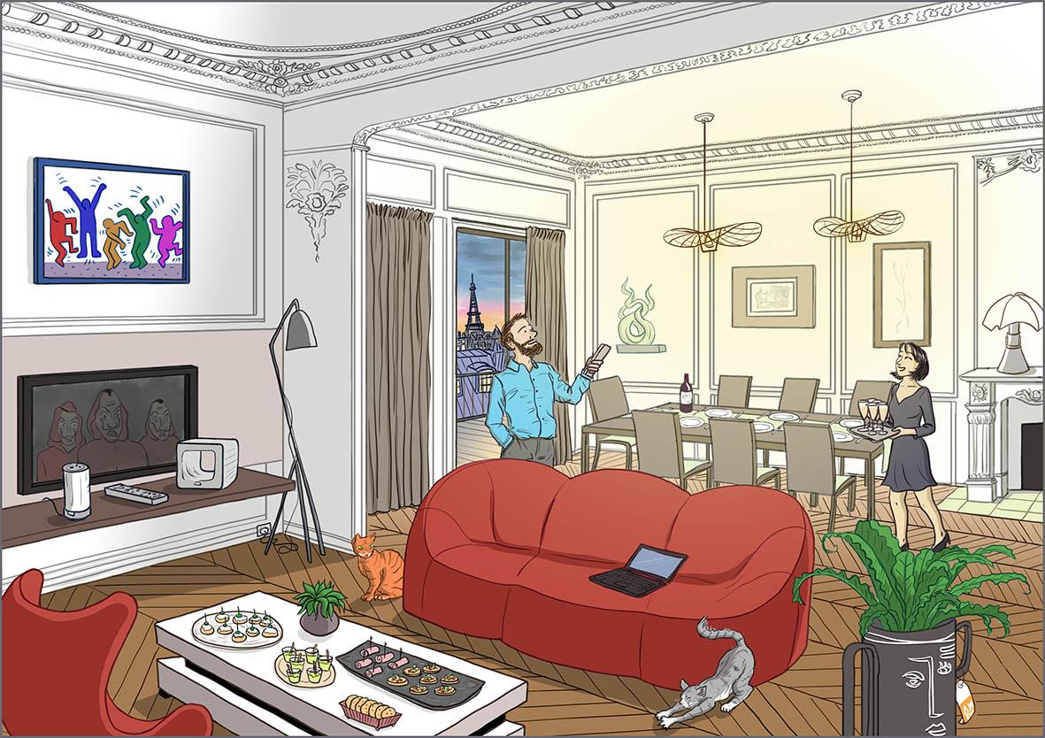 Scène de vie - Un jeune couple dans son appartement