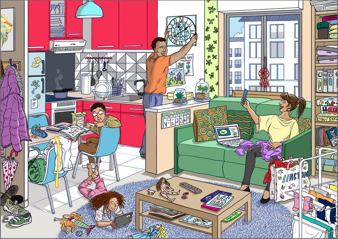 Scène de vie - Une famille dans son appartement