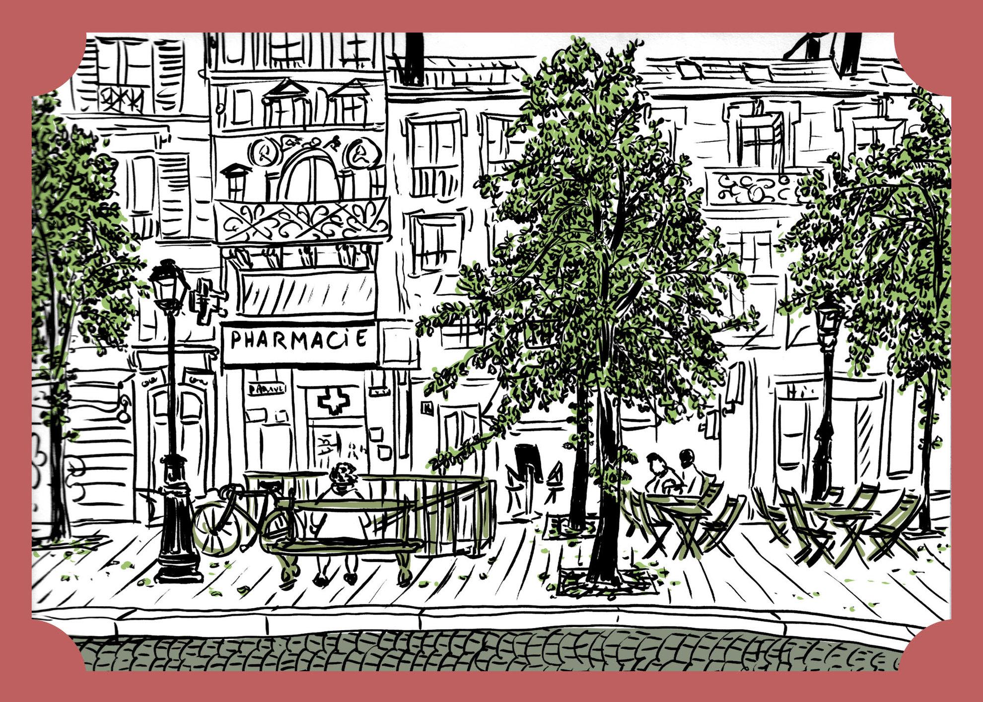 Vues de Paris - Une place dans le Marais