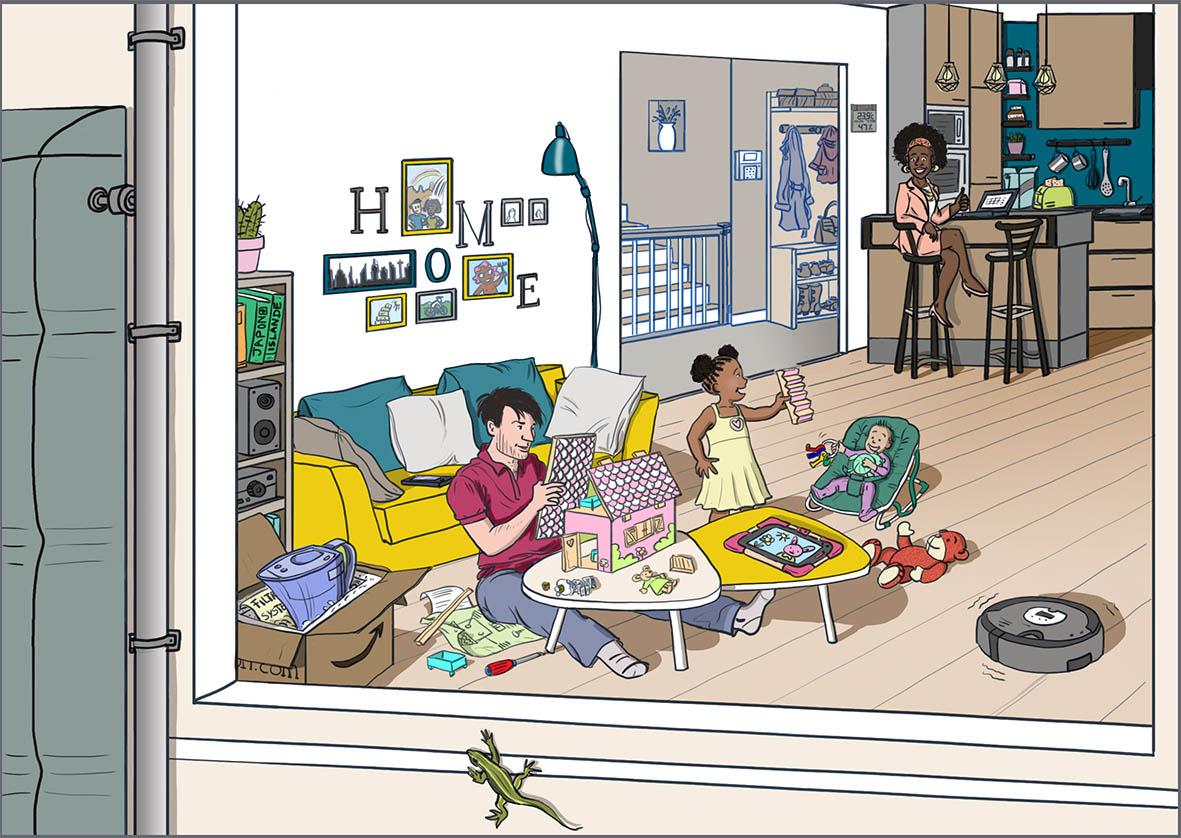 Scène de vie - Une famille dans sa maison