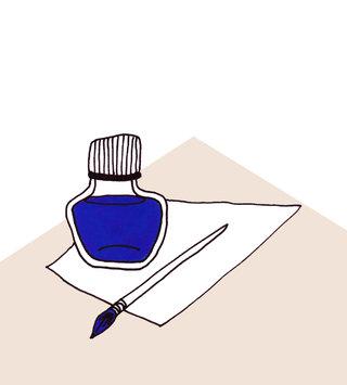 Cobalt Ink on blank paper