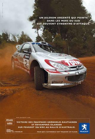 Campagne presse quotidienne pour les victoires de la Peugeot 206 WRC