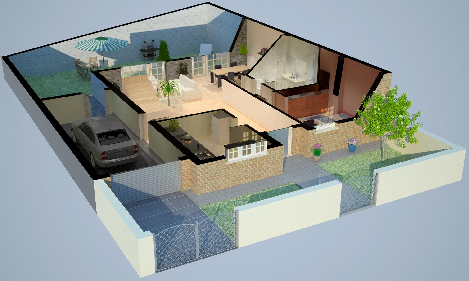 Section maison rdc