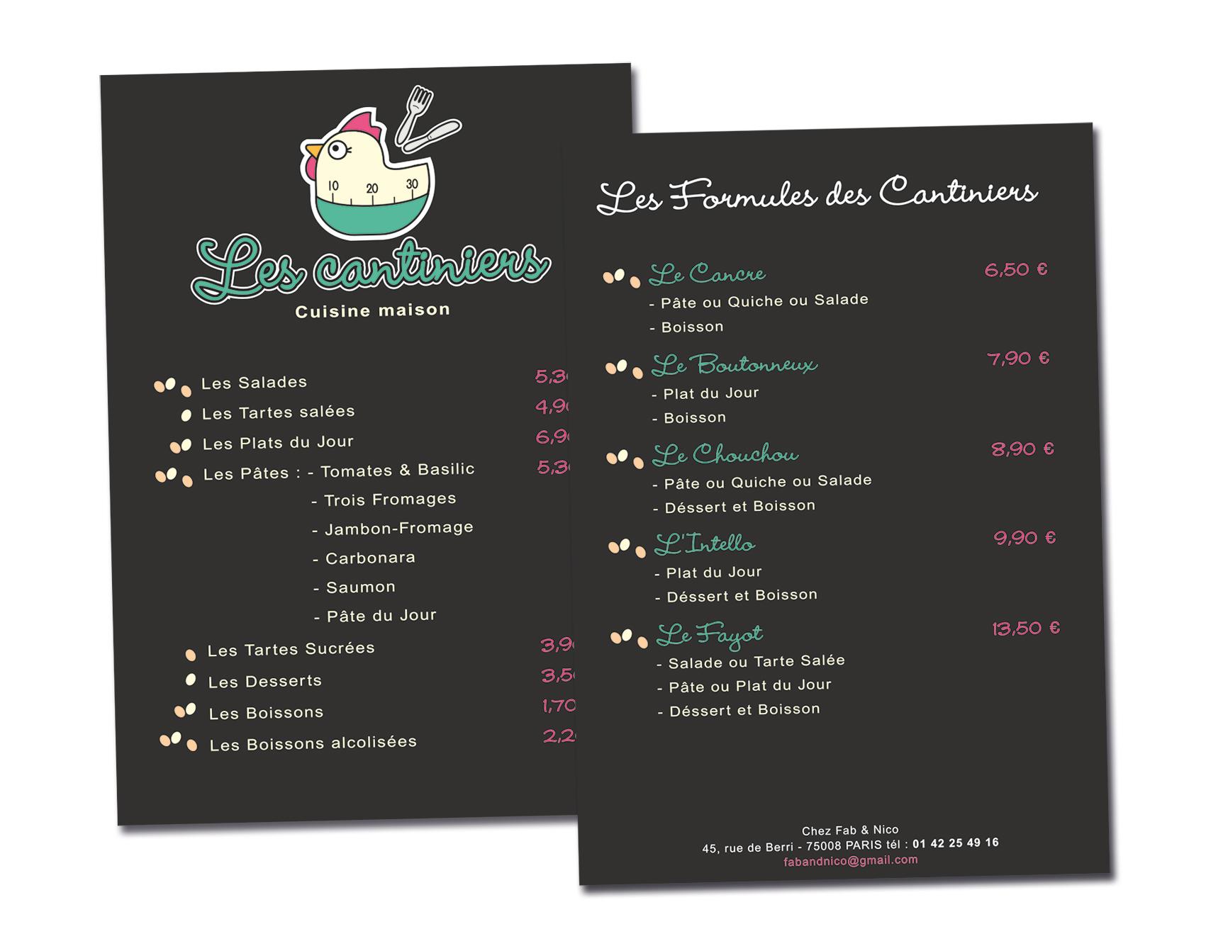 Les Cantiniers / Menu