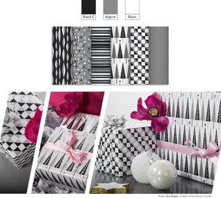 Noël noir et blanc // CLAIREFONTAINE (Elaboration du cahier de tendance, création des motifs, déclinaison de designs graphiques sur les supports emballage)