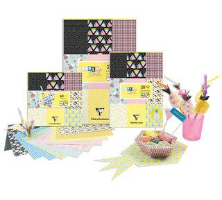 Bloc de papiers et origami - création de certains motifs et réalisation des encarts/intérieurs des produits