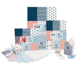 Bloc de papiers et origami - création des motifs et réalisation des encarts/intérieurs des produits