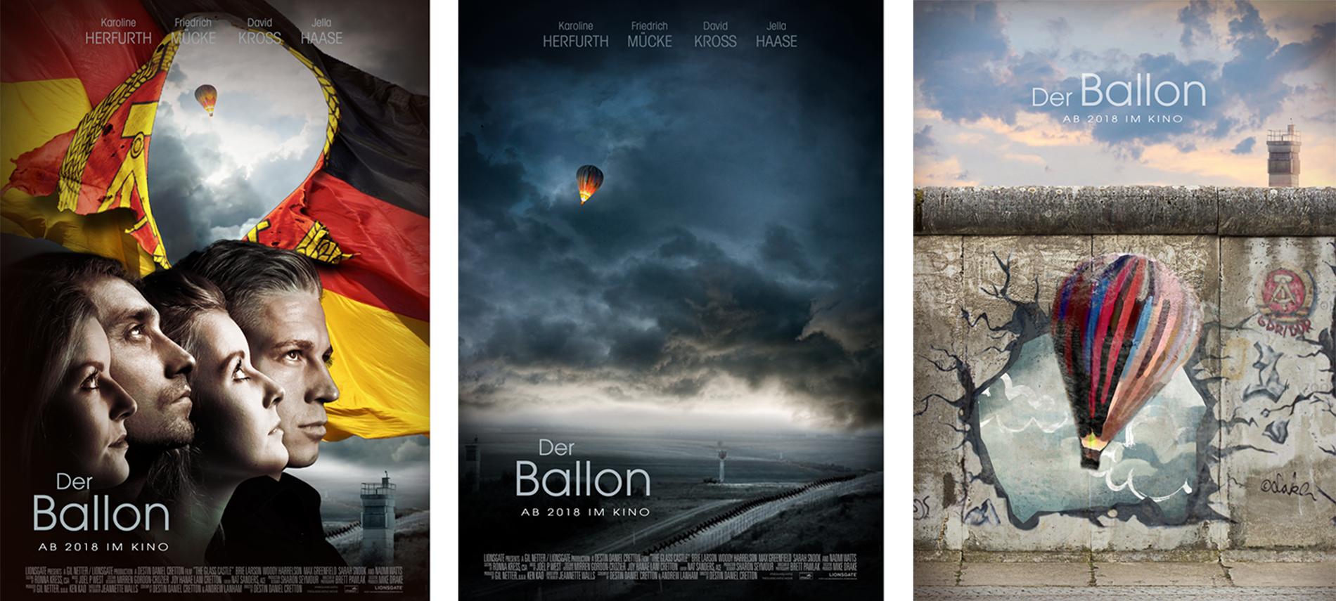 """Affiche du film allemand """"Der Ballon"""" - propositions non finales"""