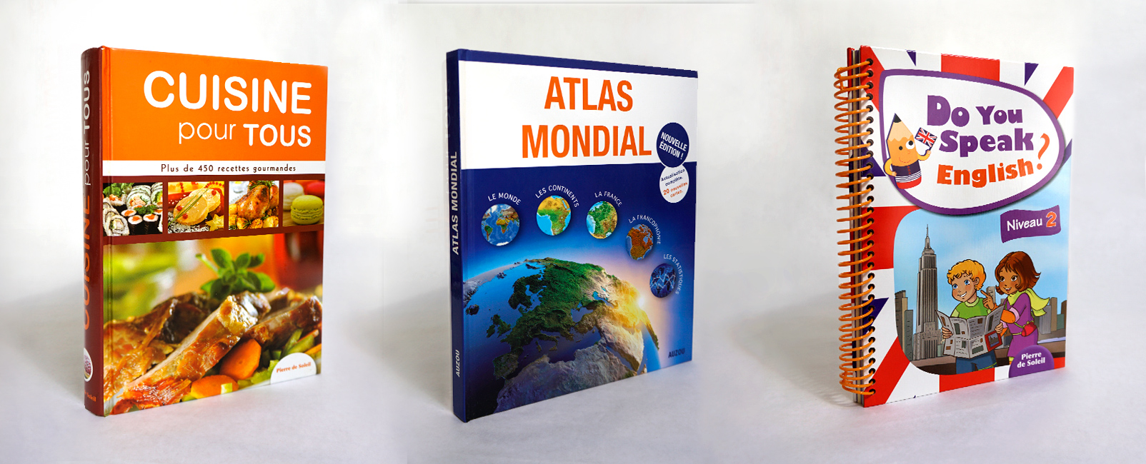 Design couvertures de livres : Atlas, recettes et cahier d'anglais