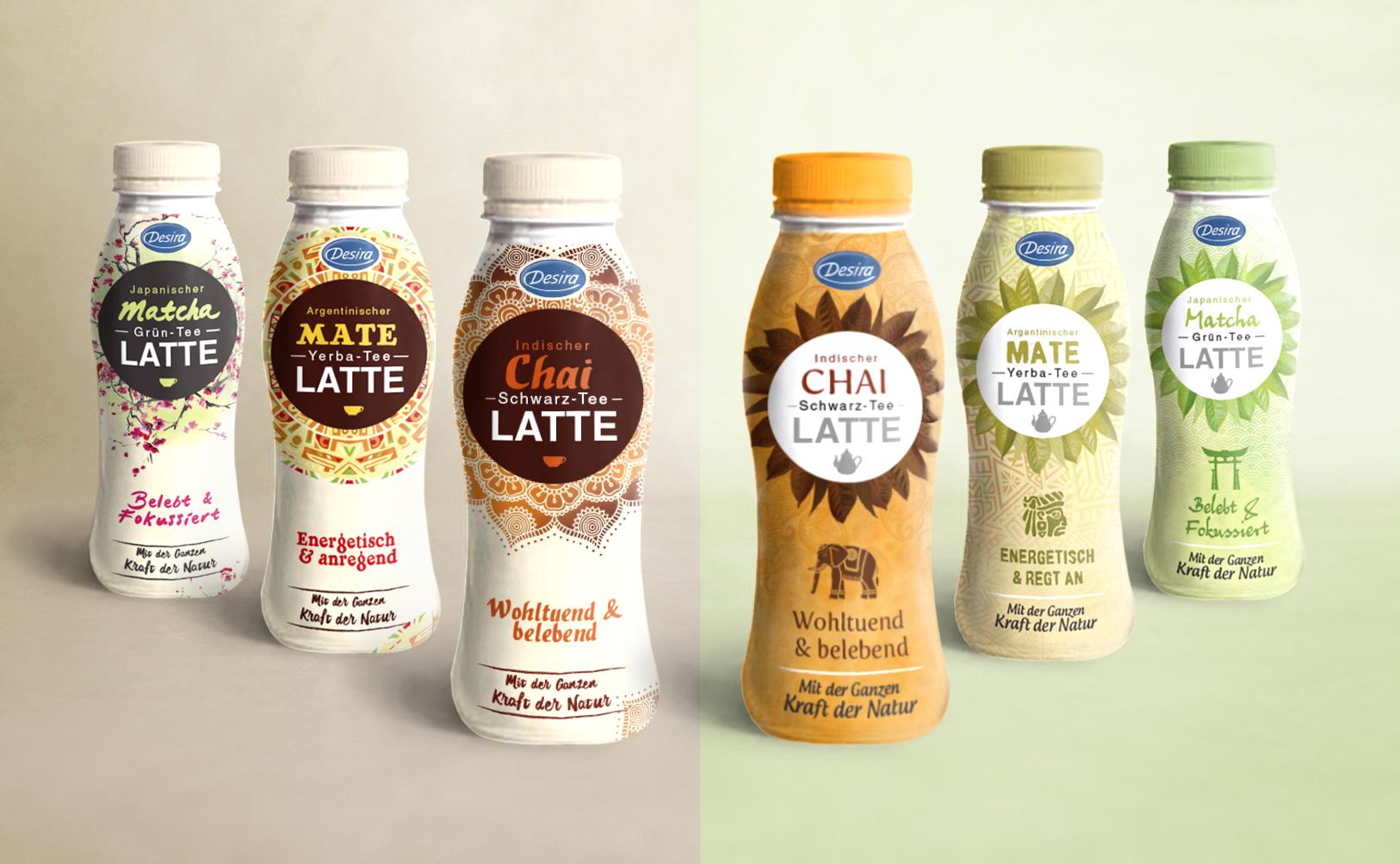 Concept design packaging - deux versions de thé latte