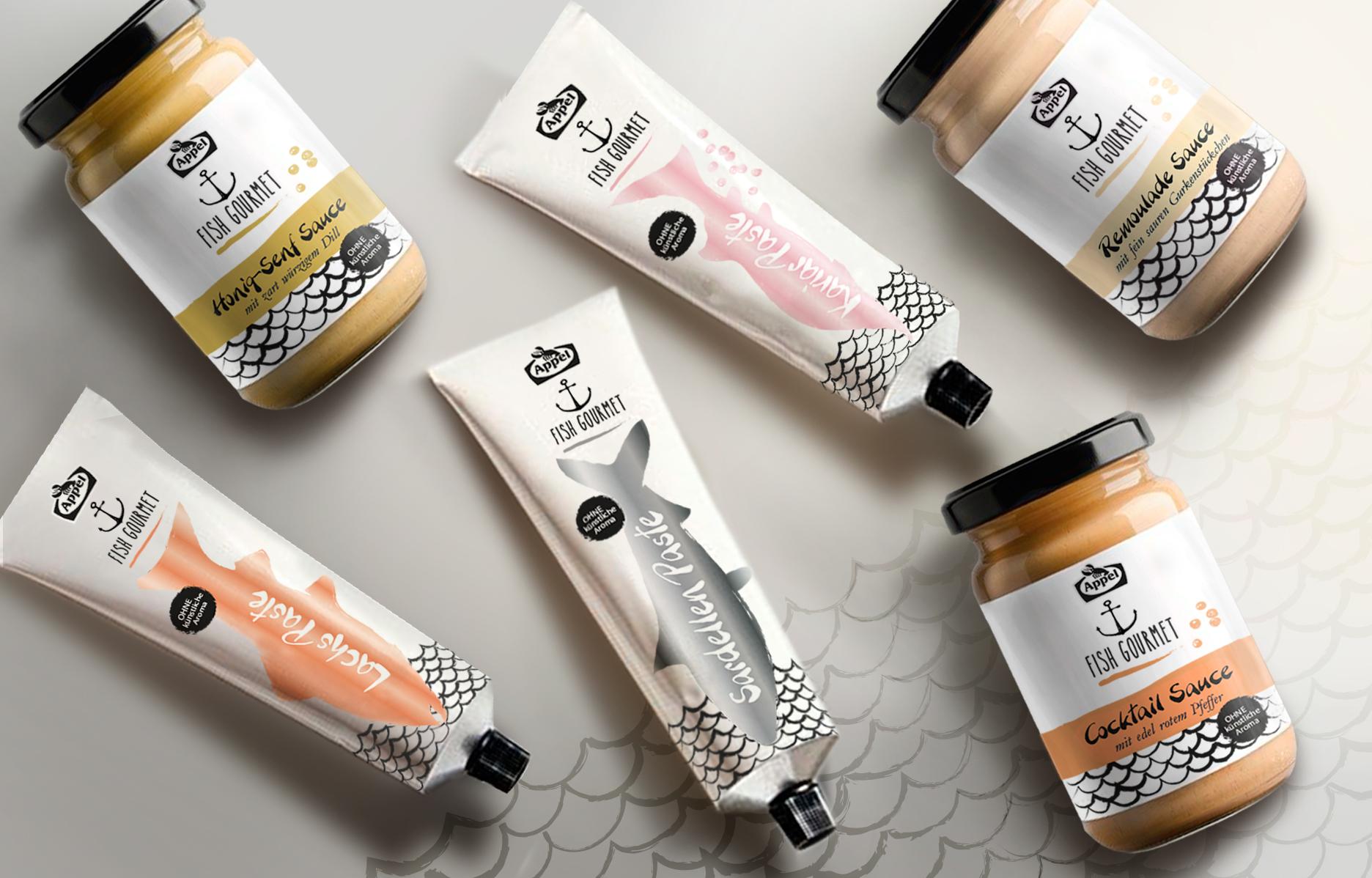 Concept design Packaging - pâte de poissons en tube et sauces pour plats de poissons