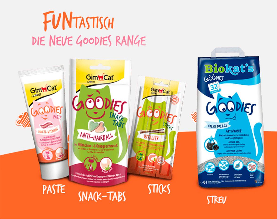 """Packaging design. Nourriture pour chat """"Goodies"""" pour la marque allemande GimCat"""