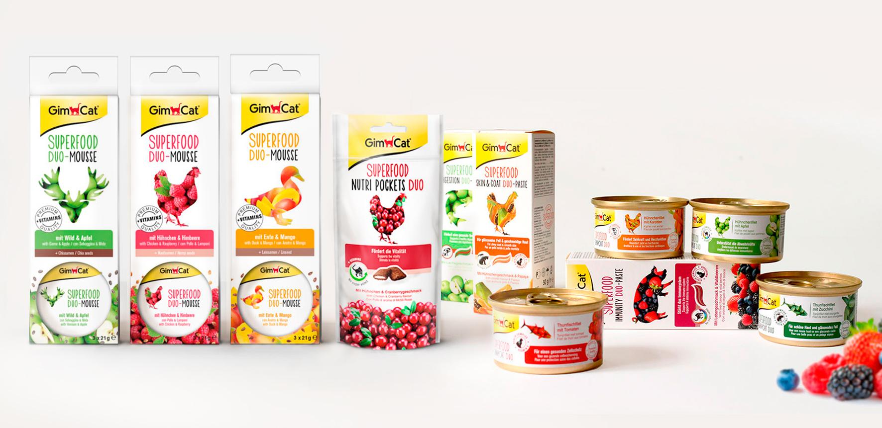 """Packaging Design, nourriture pour chats """"Superfood"""", riches en fruits, légumes et vitamines, pour la marque allemande GimCat"""