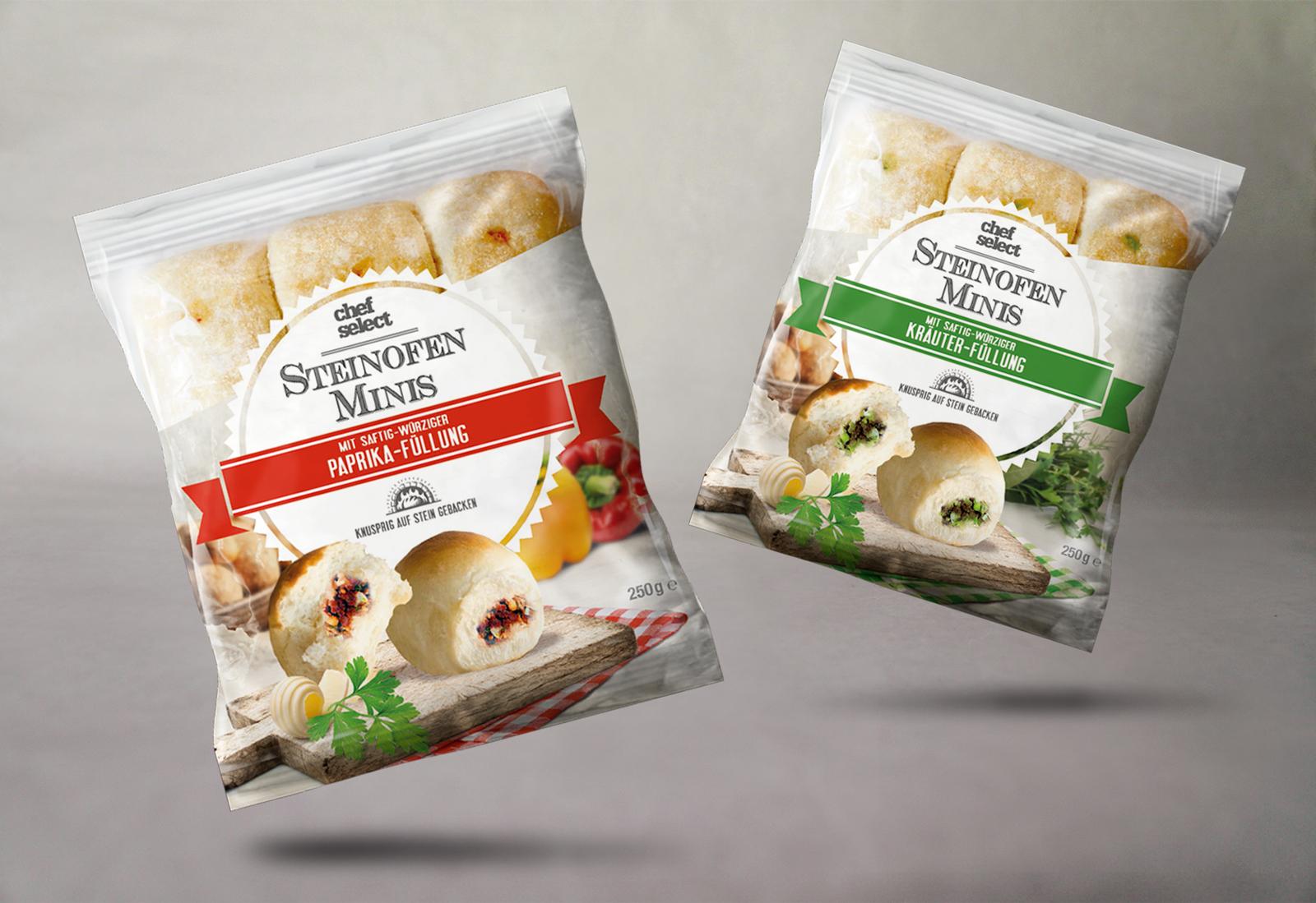 Packaging Design - Petits pains fourrés salés à réchauffer au four - Style pizza