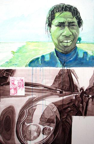 little tok in the city,2008,acrylique sur toile,150x97cm.