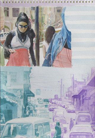 United Colors of World 4, 2009, aquarelle sur papier, 38x26,3 cm