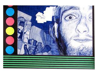 """cycle """"racontez-moi"""" 1, 2007, 45x32 cm, stylos et feutres sur papier"""
