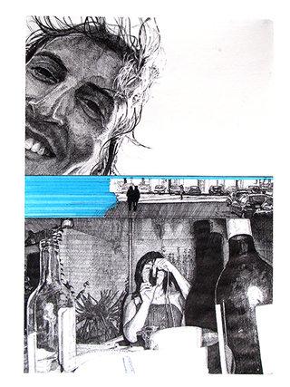 """cycle """"racontez-moi"""" 3, 2007, 45x32 cm, stylos et feutres sur papier"""