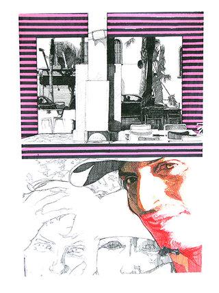 """cycle """"racontez-moi"""" 7, 2007, 45x32 cm, stylos et feutres sur papier"""