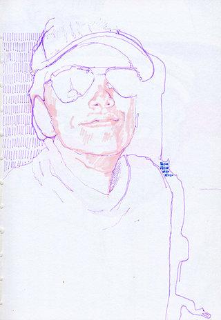 sans titre 3, 2009, feutre, stylo sur papier, 20,9x14,7 cm