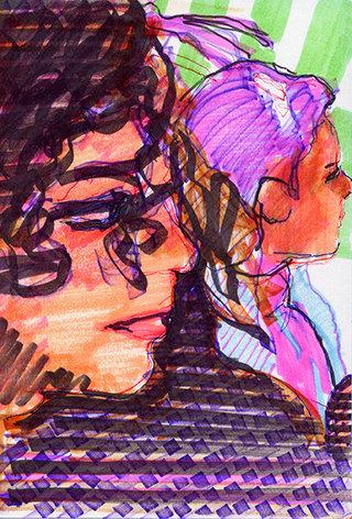 sans titre 26, 2009, feutre, stylo sur papier, 20,9x14,7 cm
