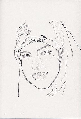 sans titre 27, 2009, stylo sur papier, 20,9x14,7 cm