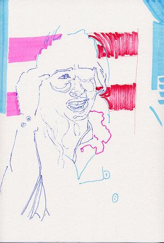 sans titre 28, 2009, feutre, stylo sur papier, 20,9x14,7 cm