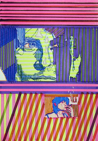 """""""voyeur"""", 2009, feutres sur papier, 29,7x21 cm"""