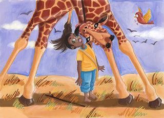 Paki sous la girafe
