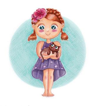 Petite fille et son chaton