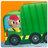 Close-up of garbage truck / détail camion poubelle