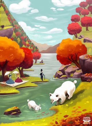Baignade des ours - illustration personnelle